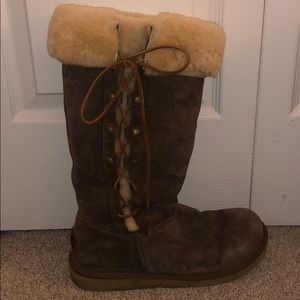 Ugg tan side lace-up boots.  Like new.  Size 9.